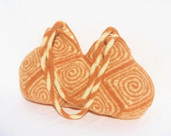 Swirl design granny square hobo bag in Light Rust and Cream hand crochet felted wool purse