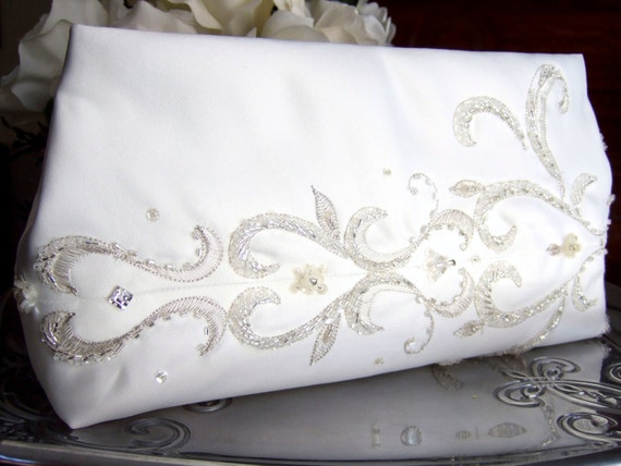 SALE * Classic Ivory & Silver Bridal Clutch Purse / Silver Beaded Embroidery / Upcycled Dress * SALE