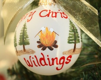 Camp Fire Personalized Ornament - Handpainted and Made to Order with Pine Trees and Marshmellows cooking