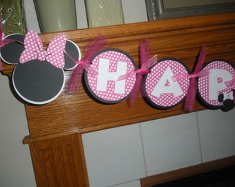 Minnie Mouse Hot pink Banner, Minnie Mouse Birthday Banner, Hot Pink Birthday Banner,  Matching Pom Poms Available