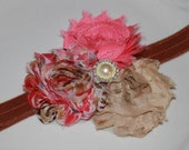 Coral Aqua Blue Tan Print  Boutique Triple Chiffon Flower Rosettes Pearl Accents on Light Brown Elastic Headband - Many Sizes Available