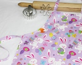 Easter Bunnies on Purple Child Apron