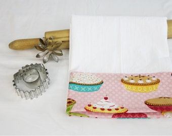 Pies on Pink Flour Sack Kitchen Towel