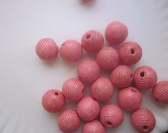 Pink Wood Beads 20mm 6 Beads