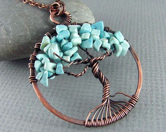 Tree Of Life Necklace Wire Wrapped Jewelry Turquoise Necklace Copper Jewelry Wire Wrapped Pendant Tree Necklace Howlite