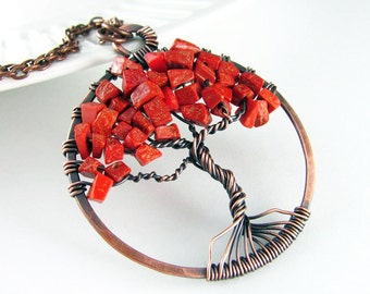 Tree Of Life Necklace Wire Wrapped Pendant Red Jasper Necklace Copper Jewelry Tree Necklace Wire Wrapped Jewelry