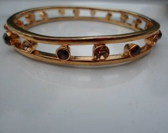 Vintage Amber and Topaz Colored Rhinestone Bangle Gold Tone Bracelet 1970s 80s