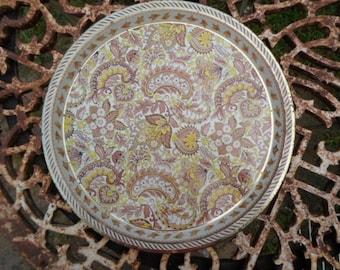 Vintage Yellow/Gold and Brown Paisley English Tin Tray Vienna Woods 1960s Round Metal Tin