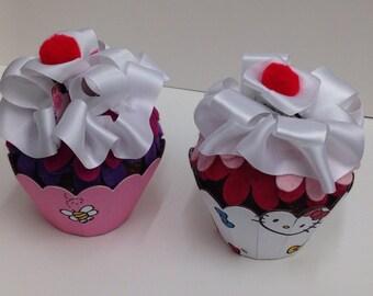 Two Kitty cupcake gift card holders, birthday, Christmas, Hanukkah ,