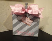 Personalized Picture Frame Holder Block With Bow