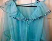 vintage MOVIE STAR Negligee,Nightgown,Robe Set,aqua blue,long, flowing, Gorgeous!