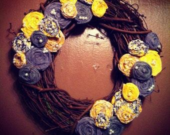 "Small Grey & Yellow 14"" Rosette Wreath"