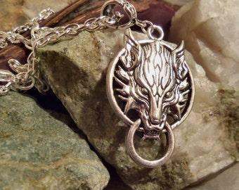Final fantasy 7 fenrir necklace wolf necklace