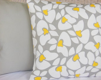Gray Yellow Throw Pillow Cushion COVERS Decorative Throw Pillows Two Solid Gray Yellow Floral Couch Sofa Pillow Nursery Bedding Sham Cottage