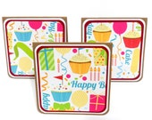 CLEARANCE-Mini Notecards, Mini Greeting Cards, Gift Bag Tags- Set of 6- Birthday: 3 x 3 inches approx.