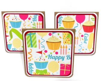 CLEARANCE- Birthday: Mini Notecards, Mini Greeting Cards, Gift Bag Tags, Lunchbox Notes Set of 6- 3 x 3 inches approx.