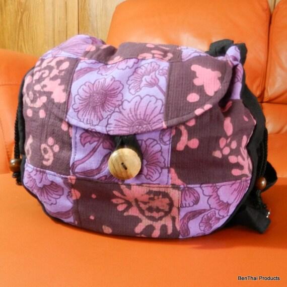 100% Cotton Swingpack Sling Crossbody Bag Shoulder Messenegr Purse Hippie Hobo Flap Handmade Lined Patchwork Purple Floral CO18