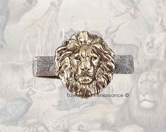 Lion Head Tie Clip Inlaid in Hand Painted Metallic Silver Enamel Neo Victorian Leo Lannister Inspired Custom Color Options Available