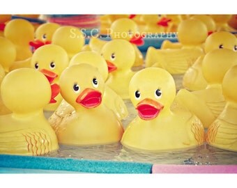 Rubber Ducky photo. carnival games. nursery decor. yellow. sunny. pastel photography. cute art. fair games. child's room decor. baby ducks.