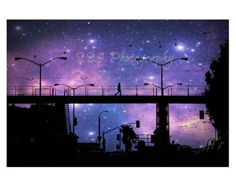 San Francisco. City Photo. Starry Night Photo. Purple art. Surreal. Stars. Night Sky. Urban. cosmic. black. silhouette.