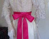"Dark Hot Pink Satin Ribbon Sash, Wedding Sash Belt, Bridesmaid Sashes, Flower Girl Sash, Luxe Double Faced Satin, 2.25"" by 4 yards"