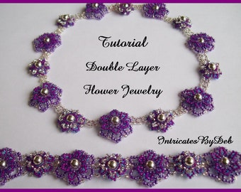 Tutorial Beaded Two Layer Flower Necklace and Bracelet - Jewelry Beading Pattern, Beadweaving Instructions, PDF, Do It Yourself, Download
