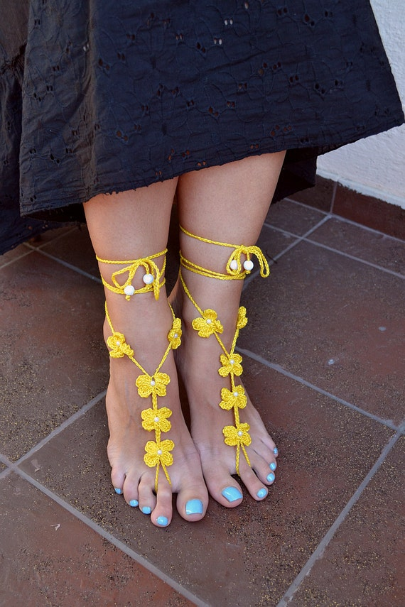 Yellow  Sexy crocheted barefoot sandals steampunk, victorian lace, sexy, yoga, anklet ,wedding, beach or pool party- Ready to Ship