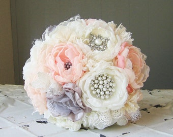 Fabric flower bouquet with brooches . Peach, ivory, gray