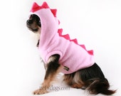 Dog Costume Dinosaur Spikes pink fleece Hoodie in all sizes chihuahua, pug, Boston terrier, Yorkie