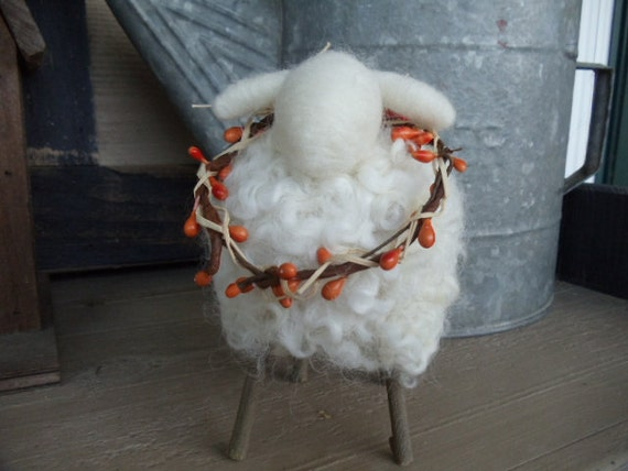 White Curly Wool Sheep with Willow Stick Legs Orange Pip Garland