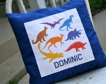 Dinosaur Pillow and Cover 14x14-Customize with Name