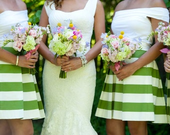 Green Striped Bridesmaid Skirt Custom made