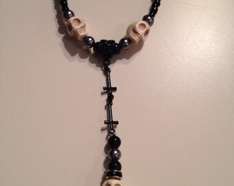 Black Inverted cross skull rosary necklace