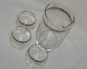 Silver Banned Tall Mixer  Pitcher with 3 Roly Poly Glasses