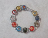 Sale Handmade Brad Bracelet - Whiskers Brads with Puppy and Cat--7.25 inches