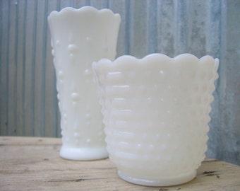 Vintage Milk Glass Vases, Set of 2 Milk Glass Vases
