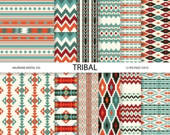 Tribal Digital paper pack, digital backgrounds - 12 jpg files 12x12 - INSTANT DOWNLOAD  553
