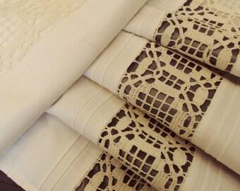 Pair Vintage European Cotton Pillowcases Pillowshams Crochet Insert Pintucks Unused Large White Babys Duvet Cover