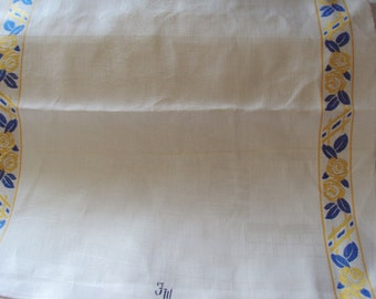 One Vintage French Damask Hand Towel Unused Yellow Roses Blue Leaves Damask Tea Roses 5 Available