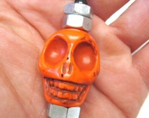 Day Of The Dead Keychain Keyring Sugar Skull Necklace Pendant Orange X Large