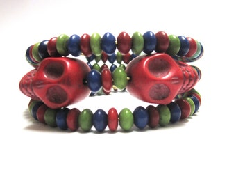 Red Sugar Skull Bracelet Day Of The Dead Wrap Cuff Green Blue