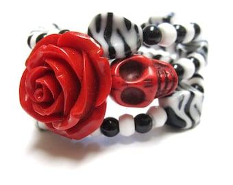 Sugar Skull Bracelet Day Of The Dead Wrap Cuff Black White Red Rose