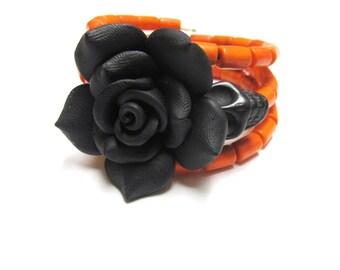 SugarSkull Day Of The Dead Wrap Orange Black Rose Skull Bracelet