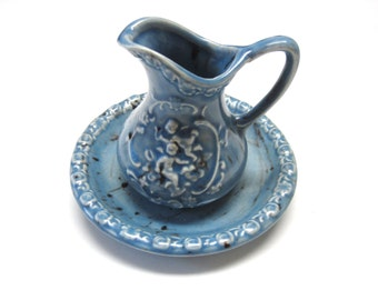Blue Brown Pitcher Bowl Set