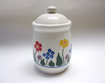 White Floral Red Green Blue Yellow Sugar Bowl Canister