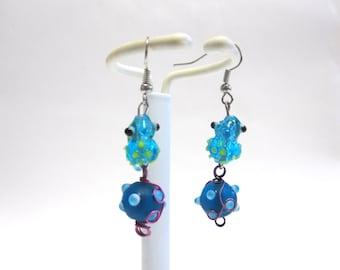 Seahorse Earrings Blue Lime Green Lampwork Dangle