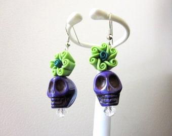 Sugar Skull Earrings Purple Green Flower