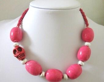 Sugar Skull Necklace Hot Pink Silver