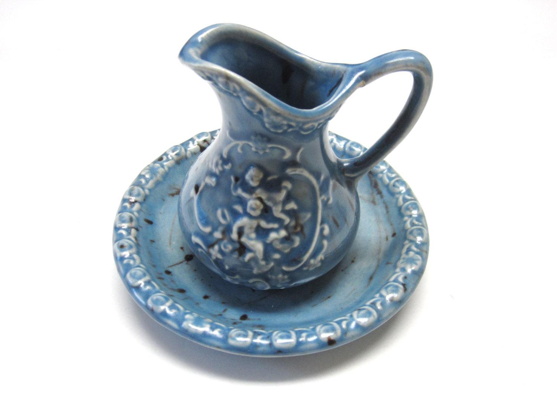 blue brown pitcher bowl set. Black Bedroom Furniture Sets. Home Design Ideas