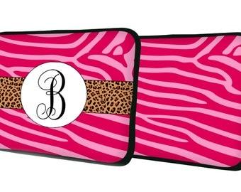 "Custom LAPTOP MACBOOK Sleeve Zebra Cheetah Initial Monogram 11"" 12"" 13"" 14"" 15"" - Personalized Monogram - Design Printed on Front AND Back"